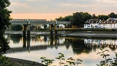 Kew Railway Bridge (JB_1984) Tags: uk bridge england reflection london water kew thames train river underground evening twilight unitedkingdom dusk tube londonunderground lowtide riverthames districtline goldenhour thamespath strandonthegreen kewrailwaybridge londonboroughofrichmonduponthames