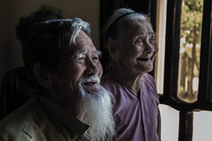 The 90 year old couple living off their own farms (OpersembeArt) Tags: old trip blue red cute green texture contrast work canon bench beard eos sticks couple vietnamese village bright hard vietnam years farmer hue 90 workbench bacpacking insense 700d canon700d canoneos700d eos700d