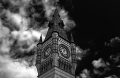 Darlington Town Clock (Preston Ashton) Tags: uk england bw clock monochrome clouds dark town market darlington backandwhite townclock prestonashton
