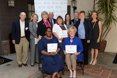 2016 Local Heroes PCF Board Member Maggie Sabbag (r; standing) with Senior Program Grantees