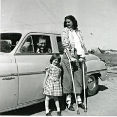 Fully braced 1950s Polio Mum with crutches (jackcast2015) Tags: handicapped disabledwoman crippledwoman paralysed poliogirl legbraces calipers