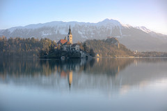 Lake Bled (smithmakaay) Tags: morning travel light mountain reflection church sunrise landscape slovenia bled lonelyplanet balkan