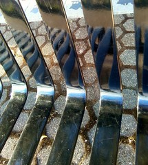 The park bench...again (Beeke...) Tags: urban abstract detail reflection bench stripes squareformat opticalillusion minimalist