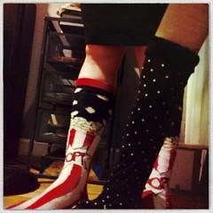 #popcorn #socks and #polkadot #armwarmers #creep #crawl (oostumbleineoo) Tags: socks armwarmers polkadots popcorn hands feet creep crawl