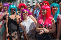 Heat Wave (James Hodgson Photography) Tags: bright colour color girls women street photography 40mm stm prime brighton hove pride 2015 parade march celebration park old steine st peters dayglow wig
