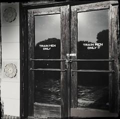 Train Men (pam's pics-) Tags: ks kansas us usa america midwest marysvillekansas pamspics pammorris hometown smalltown hipsta hipstamatic iphone5s appleiphone un unionpacific depot train railroad historicdepot cameraphone mobilephonephotography bw monochrome blackandwhite