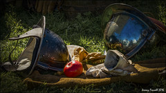 Sealed Knot Still Life (zolaczakl ( 2 million views, thanks everyone)) Tags: sealedknot westonsupermare helicoptermuseum september 2016 locking civilwar reenactment historical uk england southwest tamronspaf150600mmf563divcusdlens photographybyjeremyfennell nikond7100 somerset reflections apple helmet gloves grass