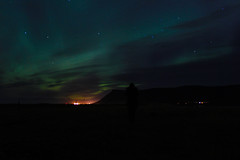 ShadowPerson (ibryndis1) Tags: northen lights iceland green pink sky night evening shadow light cloud colour colors love travellingisforever