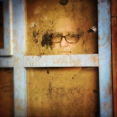 Face in the Window (Costa Rica Bill) Tags: humanface weathered windows staring eyes dirtywindow moody mysterious
