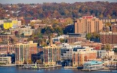 Yonkers on the Hudson River, Westchester County, New York (jag9889) Tags: autumn usa ny newyork fall colors river landscape pier newjersey unitedstates unitedstatesofamerica aerialview foliage alpine hudsonriver yonkers waterway westchestercounty 2014 northriver jag9889 20141111