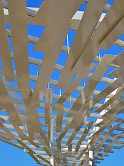 Sky Bridge Southwest (MPnormaleye) Tags: arizona sky sculpture abstract southwest art phoenix architecture modern 35mm artwork arch desert shade utata canopy