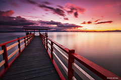 Red jetty (Nelson Michael) Tags: sunset sea seascape nature landscape evening landscapes ray seascapes jetty sony malaysia nd za sabah kota baru tanjung singh cokin ziess 1635mm pitas a99 sonyalpha marudu rgnd