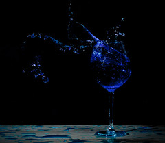 Glass Spill Blues (www.nmcqueenphotography.com) Tags: uk blue color colour art water beautiful composition canon photography photo amazing cool focus colorful exposure shadows drink photos vibrant flash creative style artsy drinks squareformat wineglass moment splash spill capture waterdrops wacky speedlight spills splashes canon100d