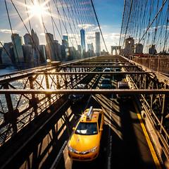 New York (biancaressl) Tags: city nyc newyorkcity bridge usa sun ny newyork yellow america cityscape cab taxi sightseeing yellowcab gelb stadt brooklynbridge amerika brücke sonne bigapple bruecke