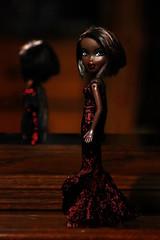 Too edgy for you (bratzfan626) Tags: wood red black sexy dark hair felicia mirror model eyes punk doll long pretty dress wine african formal bob sparkle campfire american short midnight gown ethnic bratz