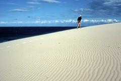 Cape Howe sand dunes, Nadgee, 1985 (NettyA) Tags: summer film 35mm sand dunes australia slide pacificocean coastal bushwalking nsw scanned newsouthwales kodachrome 1986 1985 scannedslide capehowe farsouthcoast nadgee nadgeenaturereserve nswvictorianborder