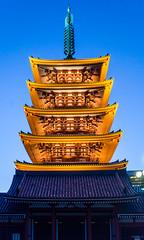 akihabara Temple (Tokyo Tomodachi) Tags: moon japan temple tokyo nikon shrine akihabara bluehour tempel schrein tokyoskytree d5100 dennisbacsa hirokobacsa johnnybacsa