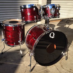 Mahogany wrapped in red onyx. 24, 12, 13, 16 (10 not pictured). Easily one of my favorite wrap finishes. #qdrumco #mahogany #drums #needatransam