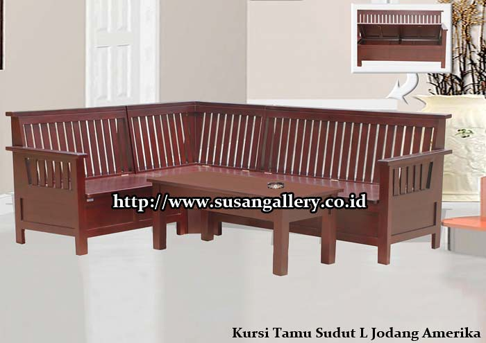 042 Kursi Tamu Sudut L Jodang Amerika (Mebel Jati Susan Gallery) Tags:  Furniture