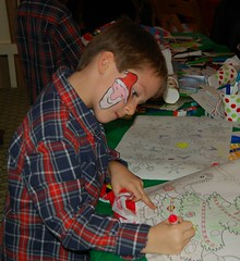 One of the Regan Twins at the Craft Table