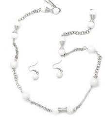 5th Avenue White Necklace P2630A-4