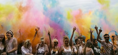 1 colour explosion (karen's images) Tags: pink blue red people green yellow holi