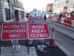 Midland Metro Extension - Bull Street - Signs - Access to frontages only and Road ahead closed (ell brown) Tags: greatbritain england signs sign shop birmingham unitedkingdom shops constructionsite buildingsite westmidlands thesquare cybercandy lewiss poundland britishheartfoundation theminories colourbeauty martineauplace midlandmetro roadclosedahead corporationst bullst balfourbeatty computerexchange bullstbirmingham midlandmetroextension accesstofrontagesonly