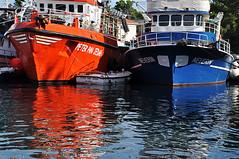 boats. (LucaBertolotti) Tags: blue red sea hot cold colors port reflections boats boat barca mare blu barche porto rosso croazia isola hrvatska krk otok veglia otokkrk isoladiveglia