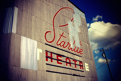 Starlite (pmistric) Tags: old blue red white cinema film sign metal wall architecture clouds standing vintage movie cool theater theatre metallic telephone letters screen structure retro drivein pole entertainment worn electricity movies aged electrical electricalwires starlite