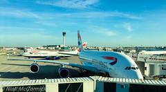 Jumbo V's Super Jumbo (Niall McCormick) Tags: airport heathrow jet airbus a380 ba boeing airways 747 jumbo lhr 747400 b744 birtish