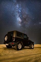 Wrangler-2 (aliffc3) Tags: skyscape desert jeep astrophotography qatar mesaieed milkyway lowlightphotography vialatte tamron2470f28 nikond750