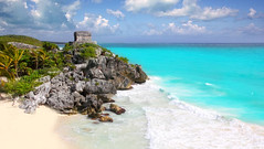 ancient Mayan ruins Tulum Caribbean turquoise (bruno_colombi1) Tags: ocean travel blue trees sea summer vacation sky sunlight white holiday seascape hot green tourism beach nature water beautiful beauty relax landscape mexico bay coast sand ancient ruins paradise riviera maya turquoise horizon scenic yucatan rocky wave tulum landmark palm mexican exotic mayan shore tropical tropic caribbean idyllic roo quintana