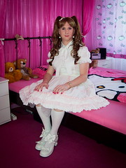 Little girl (blackietv) Tags: pink white bedroom lace skirt crossdressing blouse tgirl transgender lolita transvestite crossdresser petticoat frilly