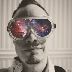 132 | 366 | V {explore} (Randomographer) Tags: portrait man face photoshop self stars head space goggles manipulation plastic explore human galaxy scifi 132 selfie 366 project366