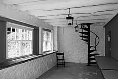 Ladew Gardens Cafe ~ HWW! (karma (Karen)) Tags: windows bw monochrome gardens chairs maryland tables lanterns monkton cafes spiralstairs ladewtopiarygardens nrhp hww cmwdbw harfordco