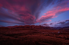 Red sky on the mountain (dave.fergy) Tags: red newzealand sky mountain abstract clouds sunrise landscape dawn countryside holidays mood events dramatic canterbury nz nik erehwon ashburtonlakes adobeps on1pics