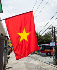 Vietnam Election Day (Explored May 23, 2016) (Hunh Anh Kit) Tags: road street leica morning red party lumix democracy election flag parliament vietnam communist national micro summilux 15mm anthem facebook f17 explored olympusm43 em5markii kietbull