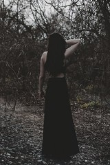 Wandering (SkylerBrown) Tags: woman girl fashion female outside model gothic overcast pale brunette blackdress darkhair caitlinlukasiewicz