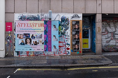 Brits don't quit (or at least they weren't meant to) (Gary Kinsman) Tags: berwickstreet soho w1 fujix100t fujifilmx100t london 2016 posters graffiti britsdontquit stylistlive mnek nathanbowen abandoned derelict shutters street brexit referendum