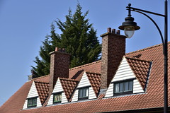 Lucarnes triangulaires (Flikkersteph -4,000,000 views ,thank you!) Tags: architecture cottages citjardin greenery springtime lawns trees style decoration homes hedges skyblue watermaelboitsfort brussels