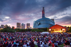 Canada Day at The Forks (Mile 24 Travel Media) Tags: theforks winnipeg manitoba canada canadaday canadianmuseumforhumanrights travel tourism ywg explore sunset skyline downtown urban celebration fireworks concert symphony