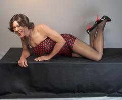 Hilariously Horizontal! (kaceycd) Tags: crossdress tg tgirl lycra spandex minidress tubedress pantyhose pumps sexypumps highheels stilettoheels stilettopumps stilettos s