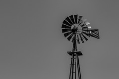 Old Windmill Against An Empty Sky (Mike Schaffner) Tags: ranch old columbus sky blackandwhite bw windmill monochrome us blackwhite texas unitedstates farm vanes aermotor