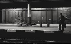 A Night Frame : Stage , A Railway Platform (Chiradeep.) Tags: blackandwhite india monochrome silhouette night lowlight streetphotography kolkata calcutta railstation westbengal railwayplatform