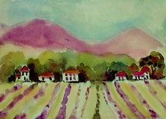 ROWS OF LAVENDER (BonnieBuchananKingry) Tags: houses mountains farmhouse watercolor painting paintings lavender rows lavenderfarm treesredroofs