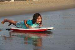 Jovie on a wet boogie board (Aggiewelshes) Tags: beach june waves sandiego missionbeach boogieboard jovie 2016