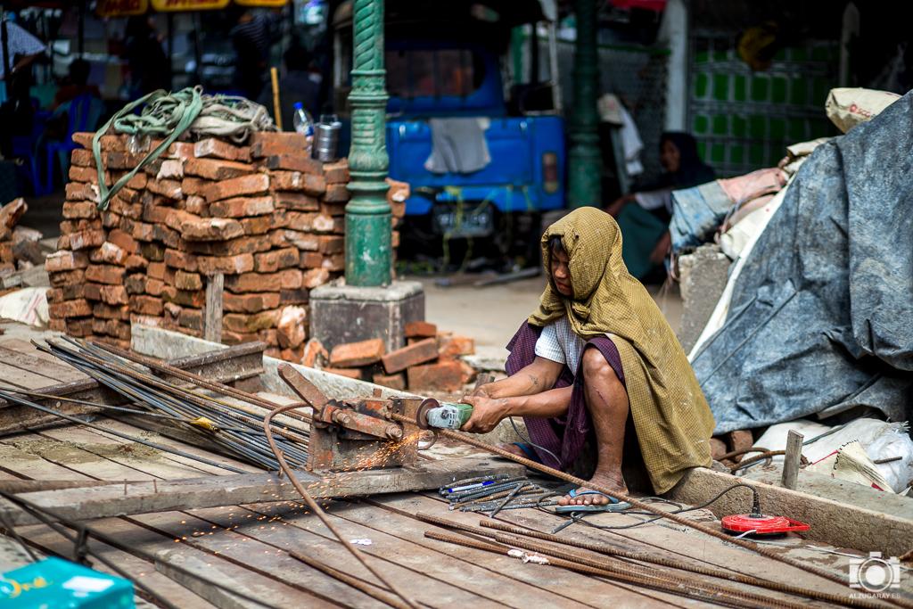 En la obra en Yangón (Myanmar)