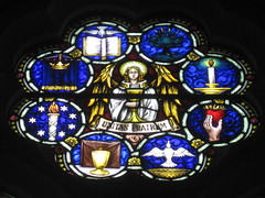 The Octofoil of the Mrs. A. B. Wright Stained Glass Window Tribute to the Sacrifice of Women During the Two World Wars featuring Jesus in the Garden of Gethsemane; St Kilda Presbyterian Church - Corner Barkley Street and Alma Road, St Kilda (raaen99) Tags: building window glass saint architecture religious memorial wwi wwii religion jesus gothic 19thcentury victorian australia melbourne stainedglass victoria worldwarii worldwari 1940s victoriana bible warmemorial greatwar 1886 stainedglasswindow stkilda biblical 1949 presbyterian secondworldwar nineteenthcentury gothicarchitecture placeofworship 1880s gothicchurch gospels gothicbuilding presbyterianchurch gothicstyle twentiethcentury almaroad ralphwilson melbournearchitecture gothicrevivalarchitecture religiousbuilding gothicrevivalstyle navewindow bookofmatthew almard barkleyst malesaint gothicrevivalbuilding inmemorandum barkleystreet stkildachurch jesusinthegardenofgethsemane architecturallydesigned gothicrevivalchurch boomperiod brooksrobinsonco stkildapresbyterianchurch johnbeswicke gothicdetail memorialstainedglass twentiethcenturystainedglass brooksrobinsonandco brooksrobinsoncompany mrsabwright mrsabwrightmemorialwindow mrsabwrightmemorialstainedglasswindow wilsonandbeswicke presbyterianchurchofstkilda wilsonbeswicke