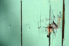 mint green (donjuanmon) Tags: wood light shadow green rust painted nail mint holes cracked bashed slat dented hff fencedfriday donjuanmon