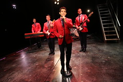 (l to r) Drew Seeley, Nicolas Dromard, Hayden Milanes and Keith Hines in the Broadway Sacramento presentation of JERSEY BOYS at the Community Center Theater Nov. 5 – 22, 2014. Photo by Joan Marcus.